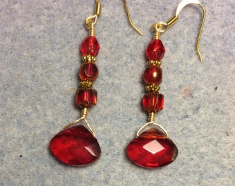Bright red briolette dangle earrings adorned with bright red Czech glass beads.