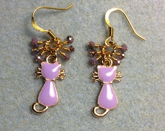 Light violet enamel cat sillouette charm earrings adorned with tiny dangling light violet Chinese crystal beads.