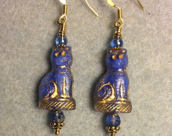 Royal blue fancy Czech glass cat bead earrings adorned with royal blue Czech glass beads.