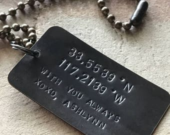 Latitude longitude necklace mens coordinates necklace gps necklace custom dog tag necklace long distance gift anniversary gifts for husband