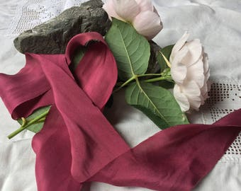 BURGUNDY hand dyed silk habotai ribbon / plant dyed / eco dyed / wedding ribbon / styling ribbon / photo prop / pure silk ribbon