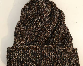 Harris yarn handknitted swirl ski hat