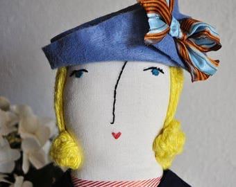 "Doll Hat, doll accessory, handmade, handmade doll hat, blue, ""Blue Felt Hat with Brown/Blue Bow"""