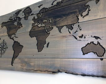 Wood world map etsy wood world map wall art travel map map art gifts for travelers gumiabroncs Choice Image