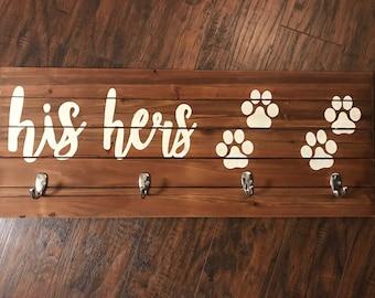 His & Hers Key/Leash Holder - Wooden Entryway Key/Leash Holder