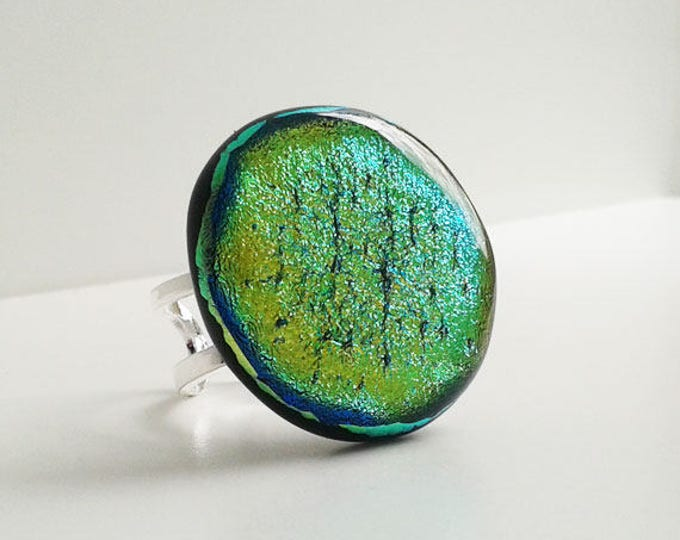 Fused glass ring, green/gold dichroic glass, large statement ring
