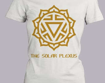 Solar Plexus Chakra Trendy Fitted Red Shirt, Short Sleeve Fitted Tee, Cute Graphic Tee, Metaphysical Shirt, Brown Tee, Screen Printed Tee