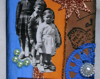 Mixed Media.Aceo.Atc.Collage.Black and white.Vintage photography.Cherish.To frame.Collectible card.Childhood.Blue.Orange.Golden.Art.Handmade