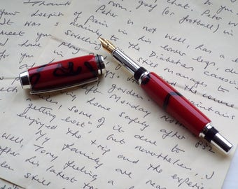 Handcrafted Silver Plated Fountain Pen in Acrylic. Lovely gift. (Item 394)