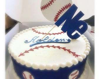 First Birthday Baseball Theme | Opening Day Party Decor | red navy blue White Smash Cake Topper