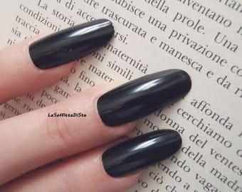 black fake nails long oval gothic wedding bride almond nail polish wag drag queen lolita selfie false nails party acrylic lasoffittadiste