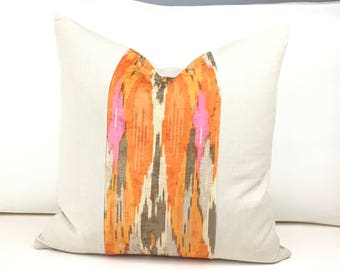 Iman Nectar Print Pillow Cover, Orange Pillow Cover, 20 x 20 Pillow Cover, Designer Pillow Cover