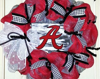 Alabama wreath, Alabama door hanger, Roll Tide wreath, Alabama football wreath, Burlap Alabama wreath, collegiate wreath