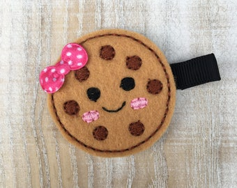 Chocolate Chip Cookie Hair Clip - Chocolate Chip Cookie Clip - Chocolate Chip Cookie - Feltie - Feltie hair clip - Clippy - felt hair clip