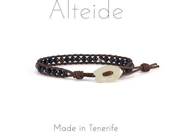 Bracelet Benijo 1 wave - Alteide - made in Tenerife - surf inspired - 925 Silver - man woman - Black Agate