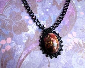 Black Sea Sediment Necklace, Red Sea Sediment Jasper Necklace, Red Stone Necklace, Black and Red Necklace, Tumbled Sediment Stone Jewelry