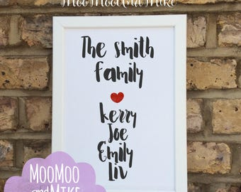 Personalised name print | Family print | prints | Wall decor | Home decor | Print only | Typography