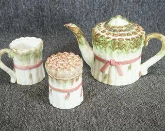 Seymour Mann Asparagus Pattern Coffee Pot, Creamer And Sugar C. 1990