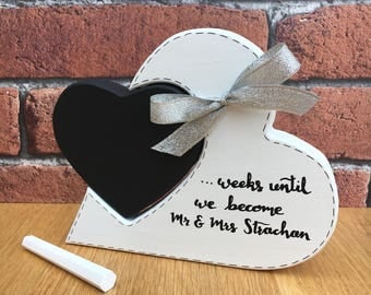 Wedding Countdown, Personalised and Freestanding, perfect gift for a newly engaged couple and engagement party present