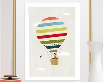 hot air balloon, nursery decor, nursery art, hot air balloon art, balloon nursery, balloon nursery art, air balloon nursery, air balloon