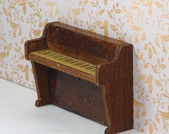 Doll house vintage piano Lundby 1970s wood upright