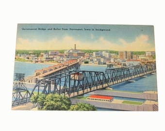 1940s Unused Linen Postcard, Government Bridge, Roller Dam, Davenport Iowa, Ephemera, Collectibles