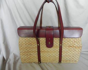 Vintage Natural Straw and Brown Leather Purse Handbag Shoulder Bag by Etienne Aigner