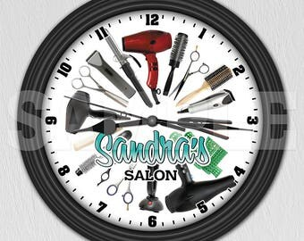 Hairdresser Hairstylist Cosmetologist Personalized Wall Clock - Salon Decor ITEM#006