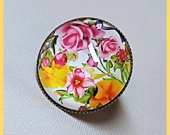 """round ring """"Spring"""". Glass cabochon 25 mm"""