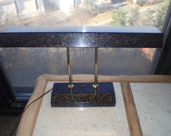 Mid-Century Table Lamp Fluorescent Gold Flecked Black Enamel/Brass Metal