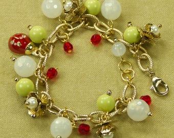 Lucky Lady Bug Goldtone Charm Bracelet