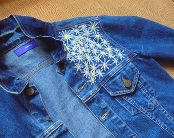 Denim Jacket Hand Embroidered with flowers / flower / daisy / hippie / hipster / cute / woman / women / gifts for her / unique item