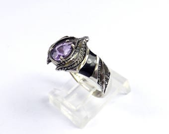 Sterling Silver 925 Band Ring Feather Amethyst Onyx Gemstone Genuine 925 Silver Southwest SILVER CLOUD Native American Size 9