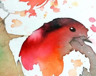Original watercolor illustration. Birds. Super cute art.  Fine arts . Splash and colors