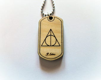 Harry potter DEATHLY HALLOWS wood DOGTAG necklace made in italy