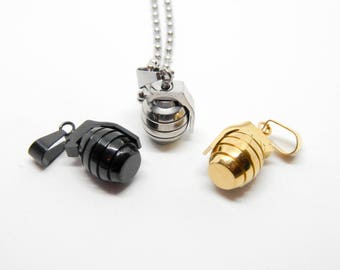 Necklace steel GRENADE bomb explosion war keychain