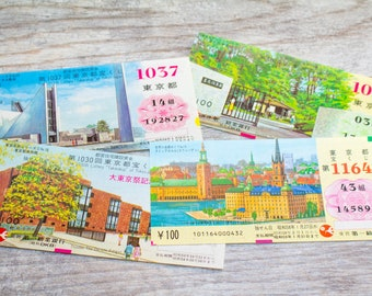 Vintage Lottery Tickets Japanese Art Prints 1980s Graphics Lotto Tickets Kanji Decoupage Paper