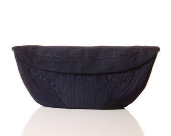 Vintage Navy Corde Clutch / 1940s Corded Evening Purse / 40s Dark Blue Corde Fabric Bag