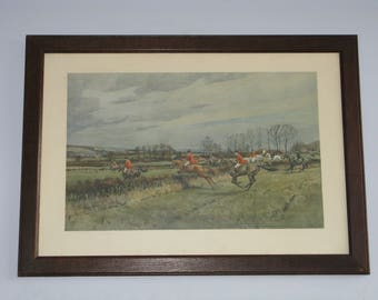 Original Vintage Edwardian Print FA Stewart The Old Surrey And Burstow English Fox Hunt C1935