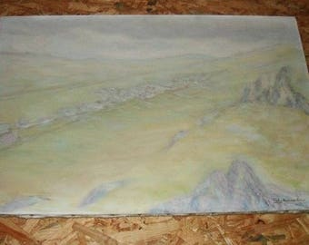 oil painting on canvas-plateau of the Andes in pastel-Licha Navarro Grey