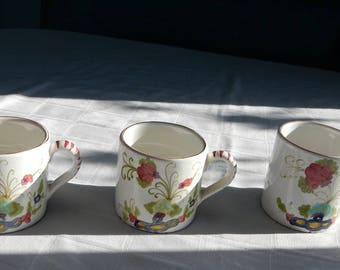 Three Cantagalli Coffee Mugs - Vintage Mugs - Cantagalli Cockerel Firenze Mark - Cantagalli Garafano Majolica - Cantagalli Carnation Cups