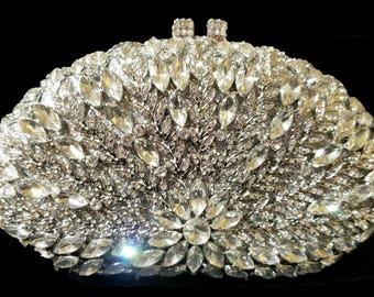 New Silver With Clear Austrian Crystal Hard  Clutch Handbag