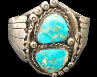 Estate Vintage Sterling Silver With Real Turquoise Stones Navajo Cuff Bracelet
