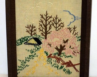 Vintage Framed Wall Art Trees and Flowering Pink Tree Completed Crewel Bare Trees in the Meadow Picture 7 by 5