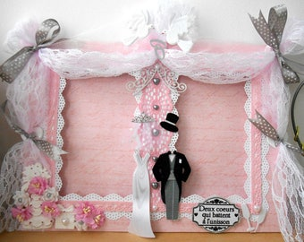 """Picture frame shabby """"Wedding"""" for 2 photos 10X15cm or 9X13cm, ask, is handmade, 3D."""