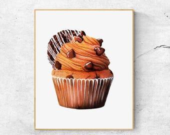 Cupcake Fine Art Print, Cupcake Watercolor Art Print, Realistic Cupcake Art, Cupcake Wall Art, Kitchen Wall Art, Cupcake Art Print, Food Art