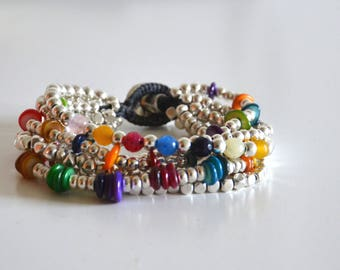women  bracelet, colourful stone beads,red,blue, yellow, violet, uno de 50 style, original design