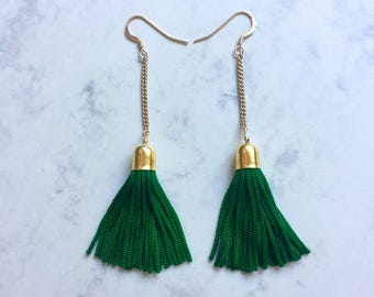 Tassel & Chain Earrings - Green and Gold