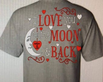 I love you to the moon and back iron on / Valentine's Day shirt / iron on transfer I love you to the moon and back