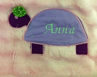 Plush Personalized Baby Blanket -  Turtle
